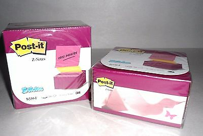 2 X Post It Notes Pop Up Desk Grip Dispensers Alternating Pink Yellow 3 X 3