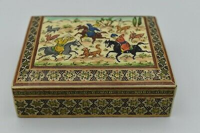 Vintage Persian Handcrafted Hand Painted Wooden Inlaid Khatam Marquetry Box