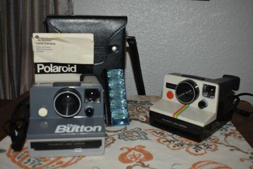"""2 Vtg  Polaroid Land & """"The Button"""" Cameras  & Case Untested, SX-70, Flashbar"""