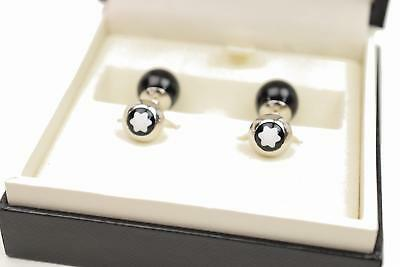 Authentic Mont Blanc Cuff Links Silver 925 X Black Onyx Ball 75649