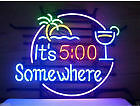 "Large "" It's 5 O'clock Somewhere "" glass neon sign"