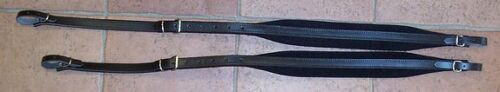 Pair Shoulder Straps Belts Black Leather Padded 2 3/8in Accordion -
