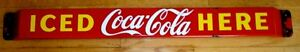 antique retro sign porcelain  push bar coca cola  1952