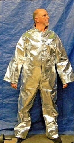 Pro Safe Silver and Yellow with Black Hook Loop Front Aluminized Coveralls