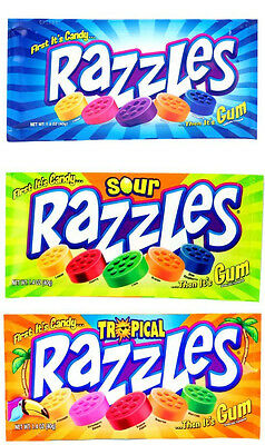 3 x Razzles 1 x Original, 1 x Sour & 1 x Tropical American Bubble Gum (40g)
