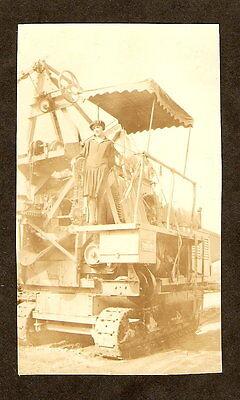 C 1920 Original Photo Cement Mixer Road Building Machinery Cute Flapper Girl