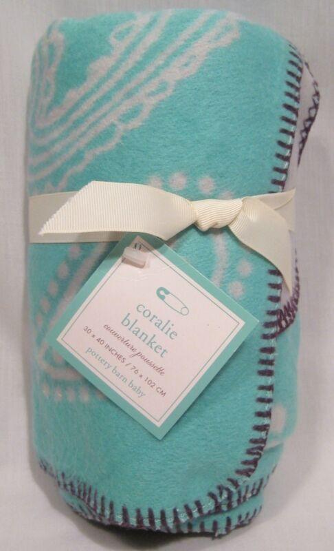 Pottery Barn Kids Blue/Lavender Coralie Stroller Blanket