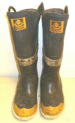 Servus Firefighter Turn Out Gear Rubber Bunker Boots Steel Toe Size 8  R209