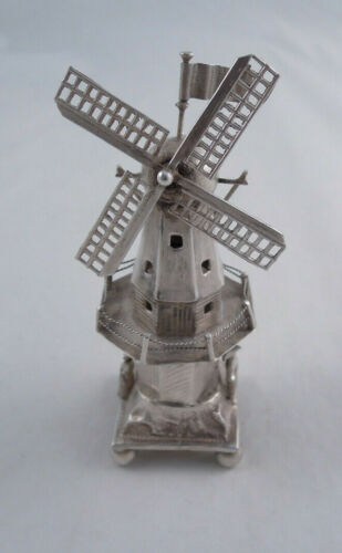 DUTCH SILVER MOVING WINDMILL FIGURINE