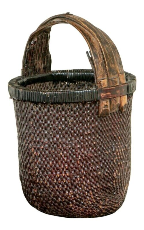 Antique Hand Woven Chinese Rice Gathering Basket