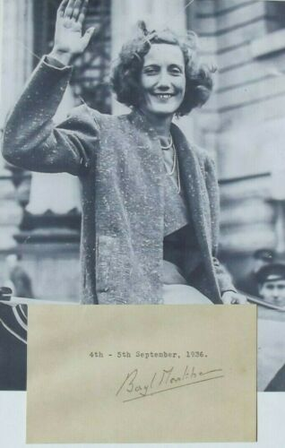 Beryl Markham Aviation Pioneer 1st Crossing Atlantic West-East Autograph