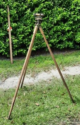 Antique 1910 David White Instruments Contractors Level Transit Brass Wood Tripod
