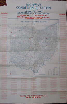 Travel Roads Highways Highway Condition Bulletin Map State of Ohio Columbus 1937
