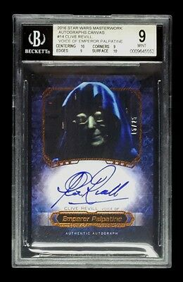 EMPEROR PALPATINE / CLIVE REVILL 2016 TOPPS STAR WARS MASTERWORKS CANVAS BGS /25