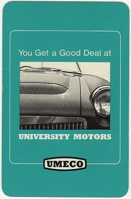 Playing Cards 1 Swap Card - Vintage UNIVERSITY MOTORS UMECO MG Car Cars Advert