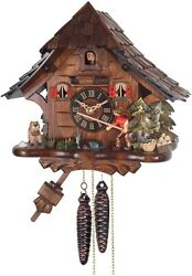 * FISHERMAN *   Quality hand-carved, traditional German cuckoo clock     16-11