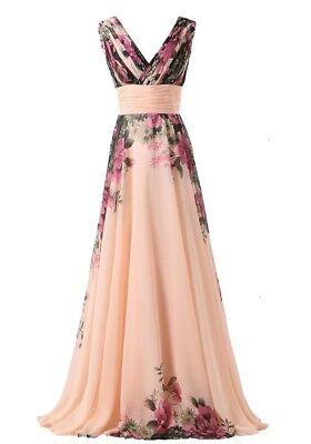 abito cerimonia da donna in chiffon damigella vestito lungo elegante floreale