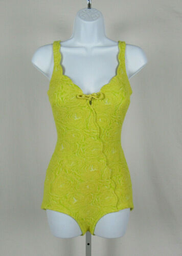 VTG 1950s 60s CATALINA CALIFORNIA SIZE 10 SWIMSUIT YELLOW GREEN TEXTURED
