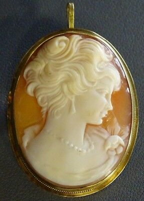 VINTAGE HAND CARVED CAMEO PIN BROOCH 18K 750 (Hand Carved Cameo Pin)