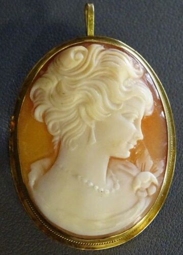VINTAGE HAND CARVED CAMEO PIN BROOCH 18K 750