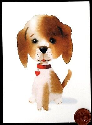 Hallmark Adorable Puppy Dog Red Heart Collar  -  Small Blank Note Card - NEW ()