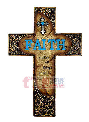 Faith Makes All Things Possible Decorative Wall Cross Turquoise Religious  Aquamarine Religious Cross