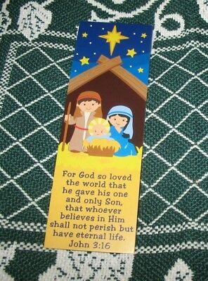 Christian Christmas Bookmarks - 3 Inspirational Christmas Bookmarks John 3:16 Nativity Christian FREEShip$20