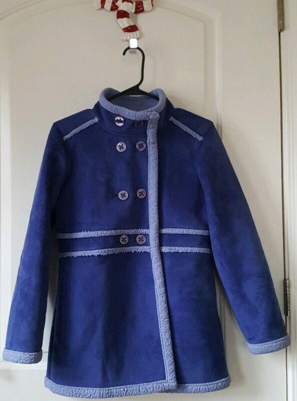 L.L Bean Girls Coat Large 14/16 Faux Suede Sherpa Lined Blue #0307  EUC!