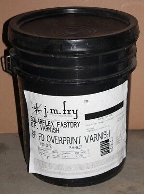 Overprint varnish, 5 gallons, Solarflex Fastdry, J.M. Fry