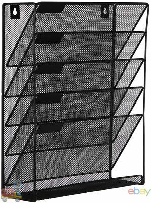 Easypag Mesh Wall File Holder 5 Tier Vertical Mount Hanging Organizer With Bo