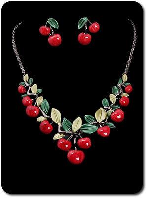 Schmuckset Halskette Ohrringe Kirsche Rockabilly Set Lolita Ohrstecker Emaille