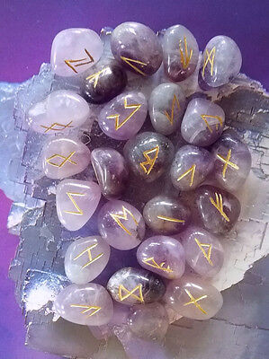AMETHYST CRYSTAL  ELDER FUTHARK RUNE SET, 25 ENGRAVED STONES, RUNES WITH POUCH