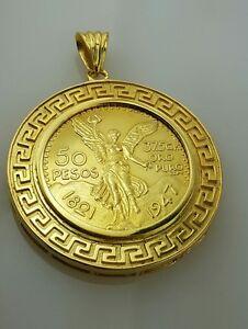 Versace pendant ebay 50 peso mexican coin pendant necklace centenario gold plated versace rame aloadofball Images