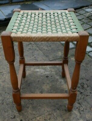 VINTAGE WOODEN STOOL - HESSIAN SEAT - GREEN AND NATURAL