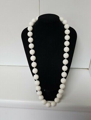 60s -70s Jewelry – Necklaces, Earrings, Rings, Bracelets Vintage 1960's 60cm Faux Iv ory 15mm Bead Necklace Early Plastic 56 grams $21.53 AT vintagedancer.com
