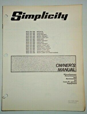 Simplicity Light Kit Hitches Hip Cap Weights Owners Parts Manual For Tractors
