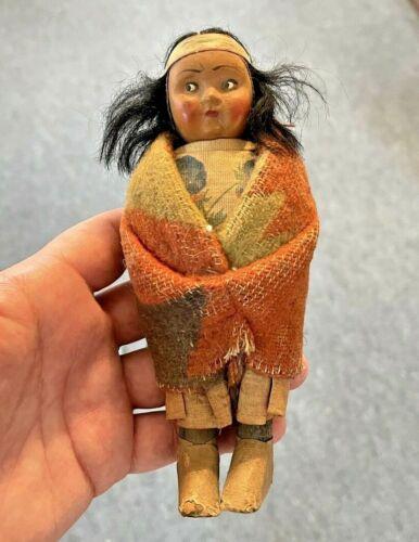 "Antique Native American Skookum Doll, 6.5"""
