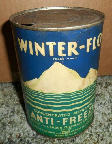 VINTAGE WINTER FLO ANTI FREEZE ONE QUART CAN GAS & OIL STATION MOUNTAINS RARE