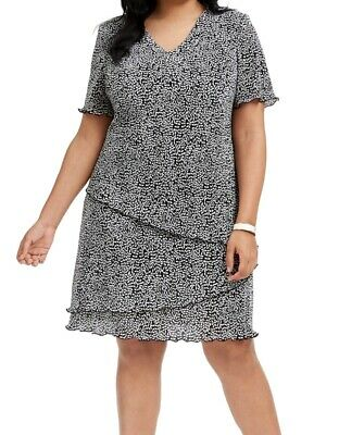Connected Apparel Womens Dress Black Size 18W Plus A-Line Pleat Layered $79 #464