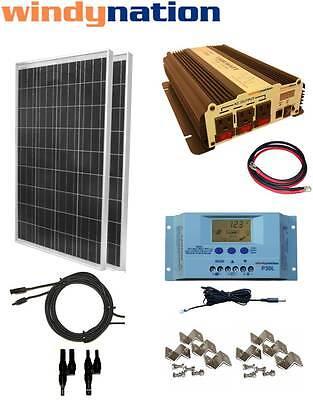 COMPLETE KIT 200 W Watt 200W Solar Panel + 1500W Inverter 12V RV Boat Off Grid