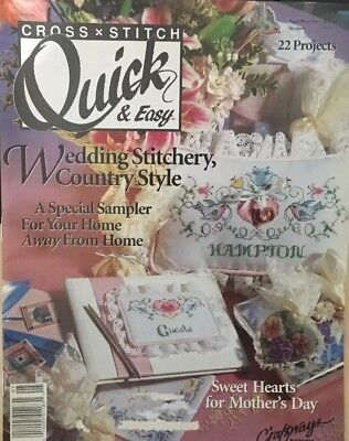Quick & Easy Cross Stitch Magazine Apr/May 1991 Wedding,Sampler, Mother's Day](Easy Mother's Day Crafts)