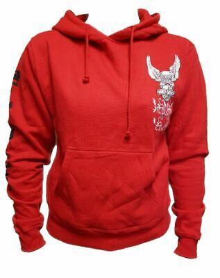 Women`s HARLEY DAVIDSON Hoodie UK Size 12 Hooded Sweatshirt Licensed Biker Red