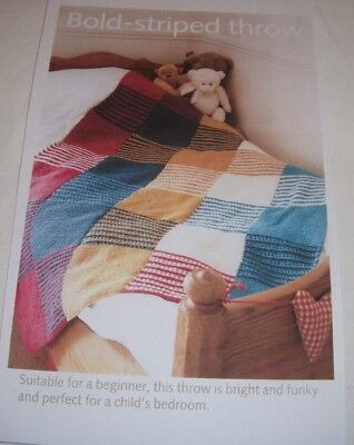 Patchwork Style Blanket/Throw ~ D.K Knitting Pattern ~ Suitable for Beginners, used for sale  Bury