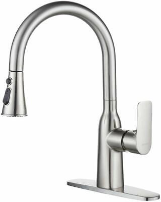 WOWOW Pull Down Kitchen Faucet Brushed Nickel 1 Hole Stainless Steel  Sprayer