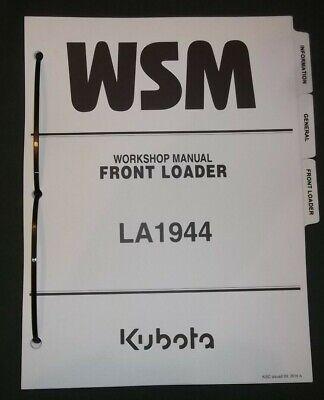Kubota La1944 Front Loader Service Shop Repair Workshop Manual
