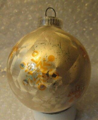 "VINTAGE 2.5"" GLASS CHRISTMAS ORNAMENT FROSTED WINDOW PANE SNOWFLAKES AUSTRIA"