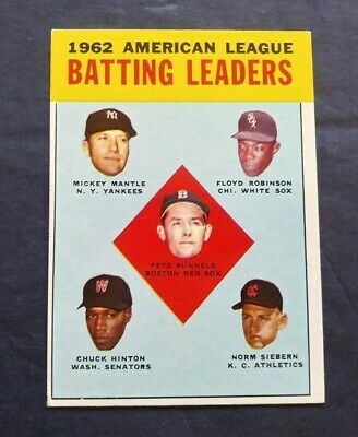 1963 Topps Baseball 1962 Batting Leaders Mickey Mantle #2 - VG+/EX
