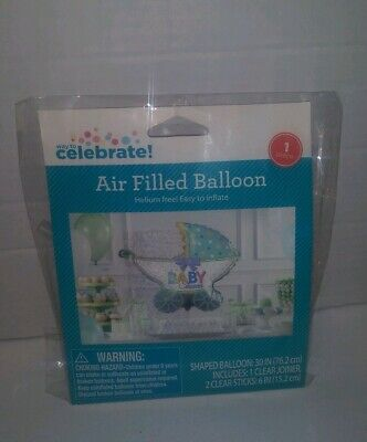 Way To Celebrate Air Filled Baby Shower Balloon-Baby Stroller shape (Air Balloon Baby Shower)