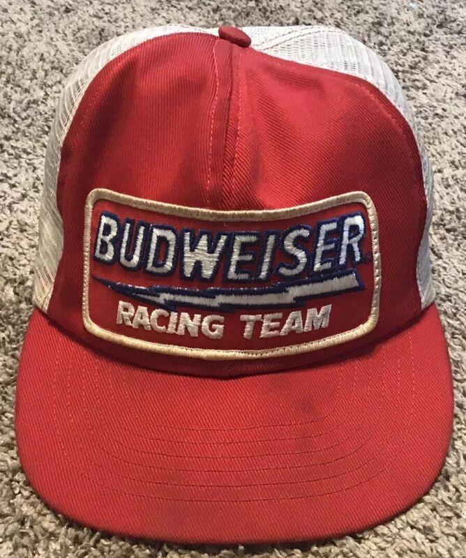 Vintage Budweiser Racing Team Mesh Trucker Hat, Patch, Swingster