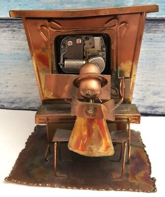 Vintage Wind-Up Music Box Metal Copper Art Sculpture Man Piano Player Ragtime